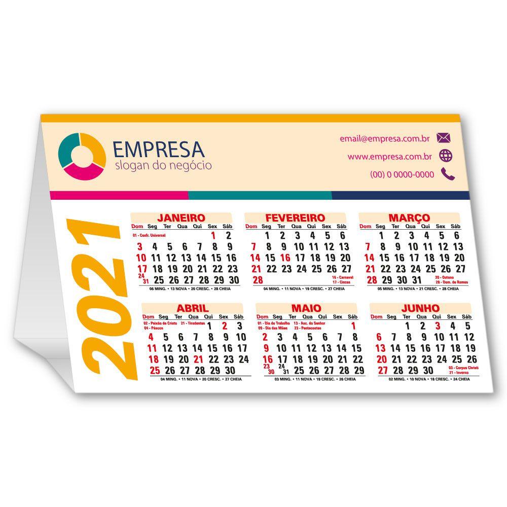 Calendário de Mesa 2021 | 13x19,5cm | Triplex 300g | Impressão Colorida Frente (Aberto) | M120