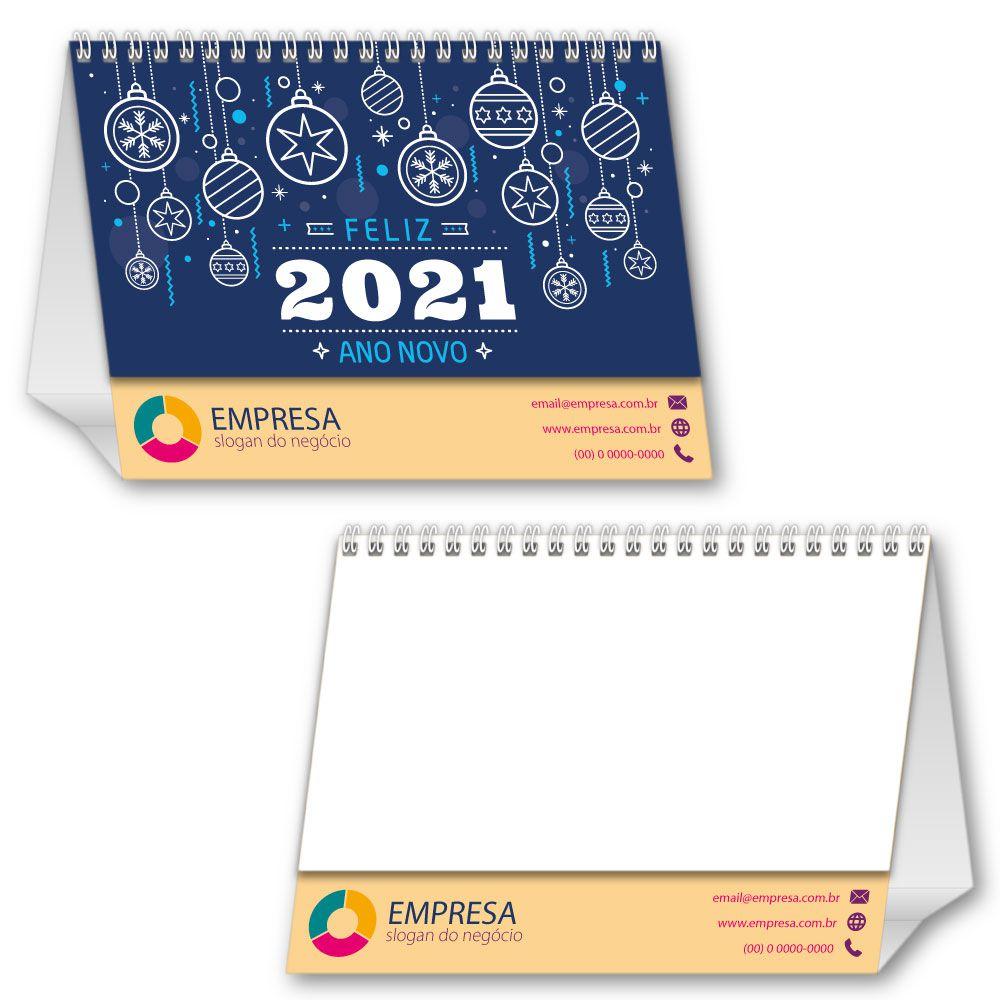 Calendário de Mesa 2021 | 14,5x19,5cm | com Folha de Rosto | Impressão Colorida Frente (Aberto) | M100