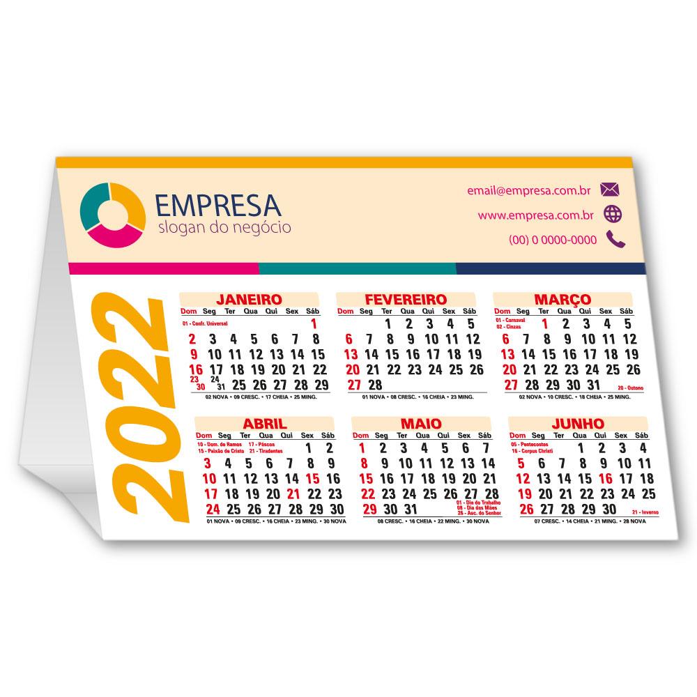 Calendário de Mesa 2022   13x19,5cm   Triplex 300g   Impressão Colorida Frente (Aberto)   M120
