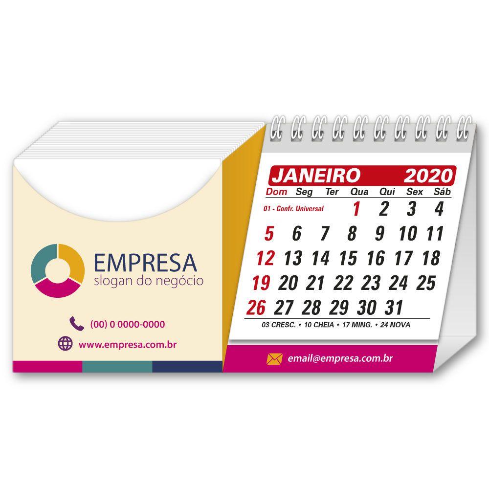 Calendário de Mesa com Rascunho | 8,7x17,2cm | Impressão Colorida Frente (Aberto) | M110