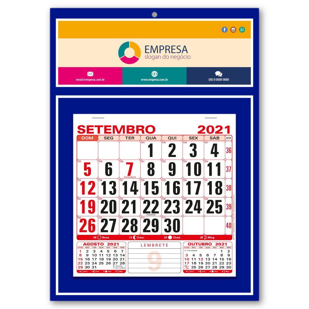 Calendário de Parede 2021 | 27x37,8cm | Arte Padrão | Impressão Colorida Frente | P110