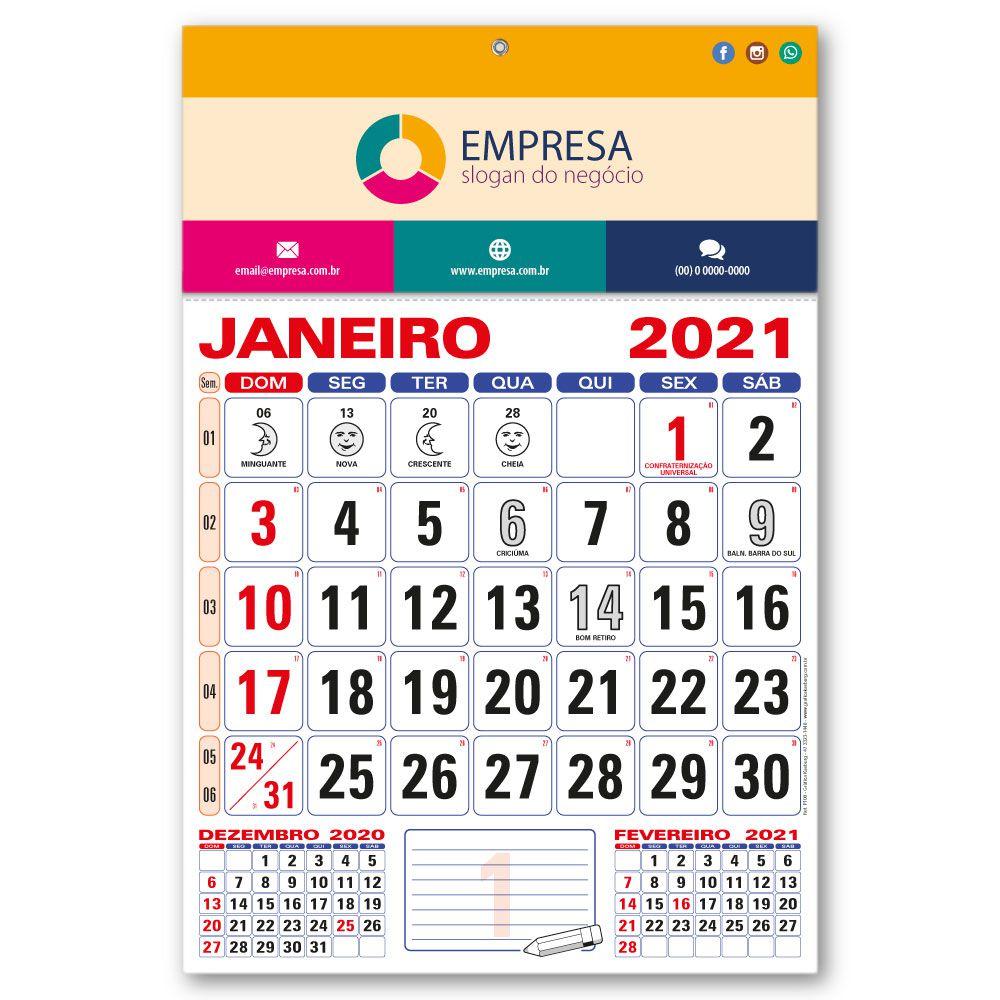Calendário de Parede 2021 | 28,5x42,5cm | Arte com Aniversários de SC | Impressão Colorida Frente | P100