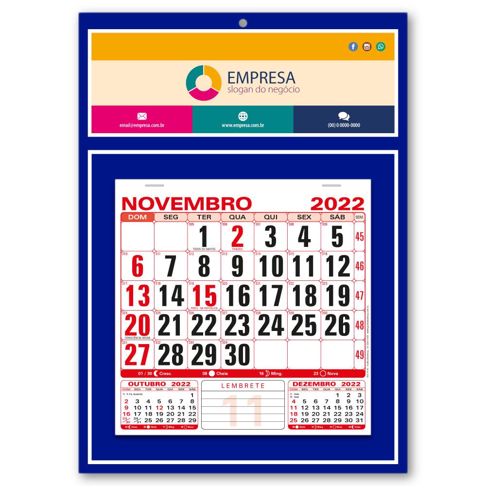 Calendário de Parede 2022 | 27x37,8cm | Arte Padrão | Impressão Colorida Frente | P110