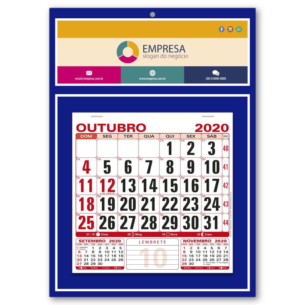 Calendário de Parede   27x37,8cm   Arte Padrão   Impressão Colorida Frente   P110