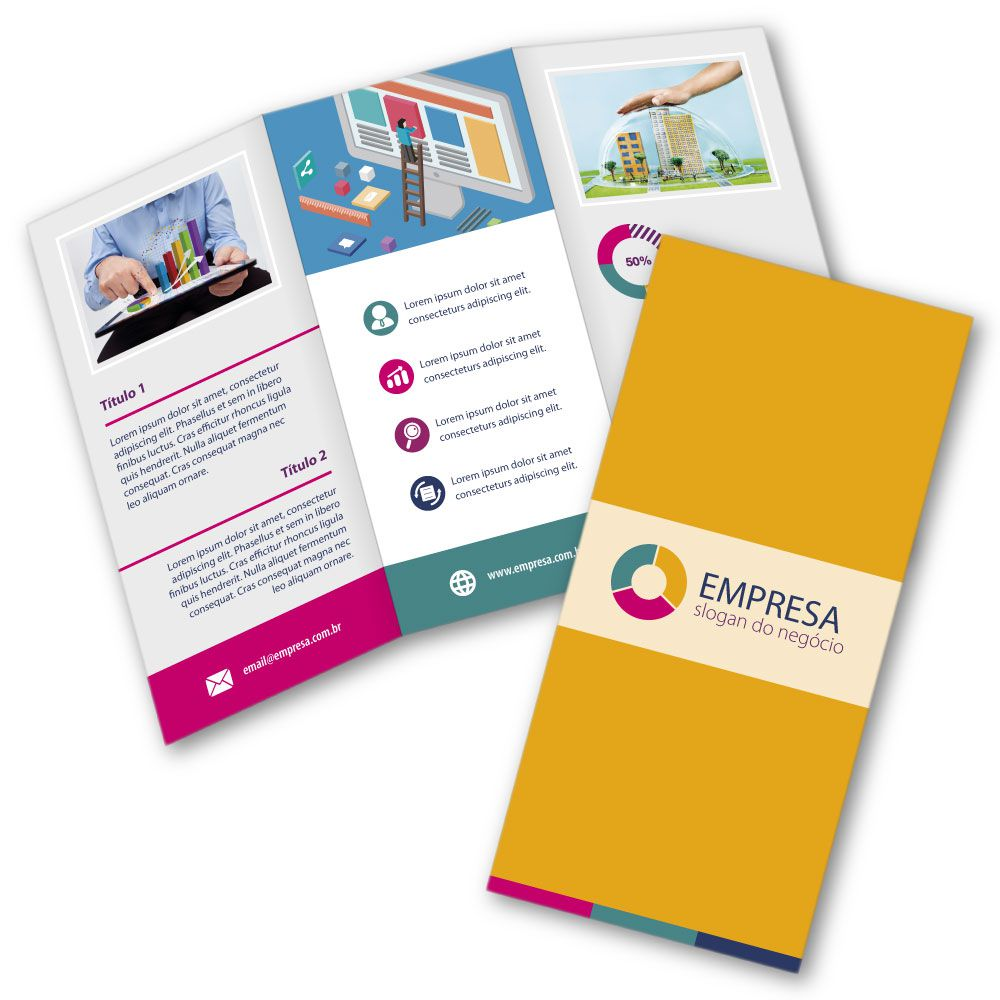 Folder A4 | 21x29,7cm | Couchê 150g | Impressão Colorida Frente e Verso | 2 Dobras