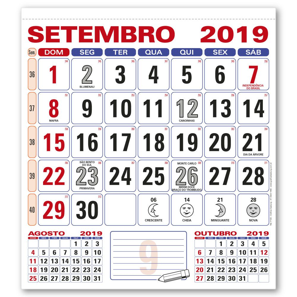 Miolo Calendário de Parede   28,5x31,5cm   Sulfite 56g   Arte com Aniversários de SC   Impressão Colorida Frente   P100
