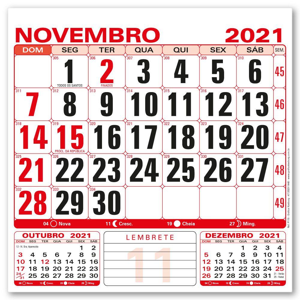 Refil Calendário de Parede 2021 | 21x21cm | Sulfite 56g | Arte Padrão | Impressão 2 Cores Frente | P110