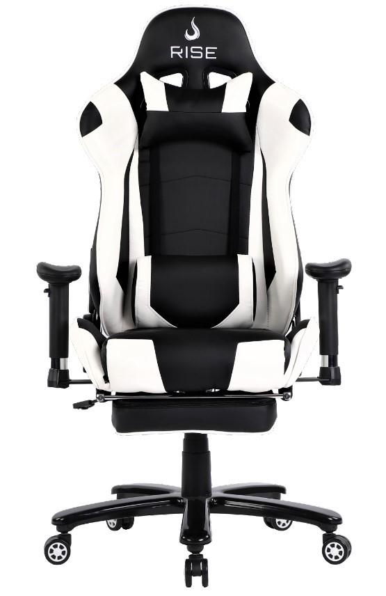 Cadeira Gamer Rise Mode A1 Preto e Branco Com Massageador
