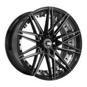 Jogo 4 Rodas Euro Racing Wheels ERW004 aro 20 5x120 c/2 tala 8,5e10 Preto brilhante e diamante ET35/38