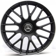 Jogo 4 rodas Raw MC/M01 MERCEDES C63 aro 20 5x112 tala 8 preto fosco com borda diamantada ET45