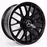 Jogo 4 rodas Raw MC/M01 Mercedes C63 aro 20 5x112 tala 8 preto brilhoso com borda diamantada ET45