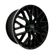 Jogo 4 Rodas Zeus Wheels ZWAR8 Audi R8 aro 20 5x112 tala 8,5 preto brilhante com borda diamantada ET45