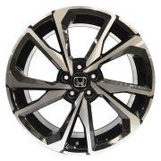 Jogo com 4 rodas GT-7 Honda Civic SI 2018 aro 20 tala 8 Furação 5x114,3 ET 45 preto diamantado brilhante