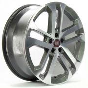 Jogo com 4 rodas GT-7 VLK-340 Fiat Toro aro 20 furação 5x110 acabamento grafite diamantado tala 8,5 ET 40