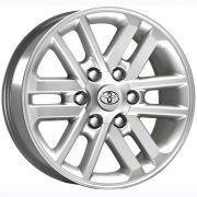 """Jogo com 4 rodas KR R-37 Hilux 2012 aro 17"""" furacão 6X139,7 acabamento prata tala 7"""