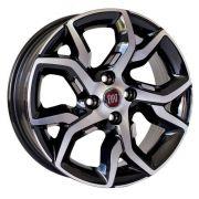 Jogo com 4 rodas KR R-92 Fiat Argo aro 14 tala 6,0 Et35 furação 4x98 Preto com  diamantado