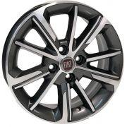 Jogo 4 rodas KR S-03 Fiat Cronos aro 15 tala6 furaçao 4x98 ET36 Grafite fosco diamantado
