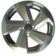 """Jogo com 4 rodas Zunky ZK-650 Golf GTI Concept aro 17"""" furacão 4X100 acabamento prata tala 6"""
