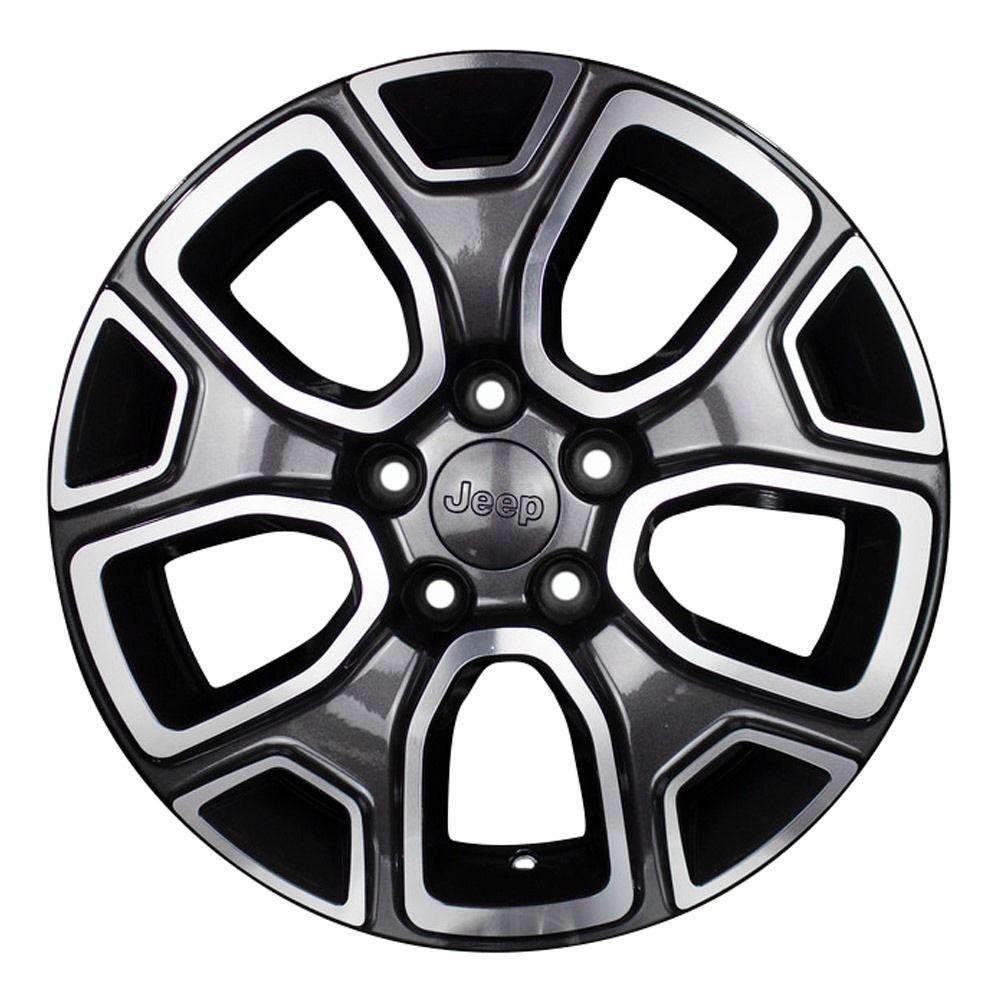 Jogo 4 rodas KR R-76 Jeep Renegade aro 16 furacão 5X110 grafite diamantado tala 6