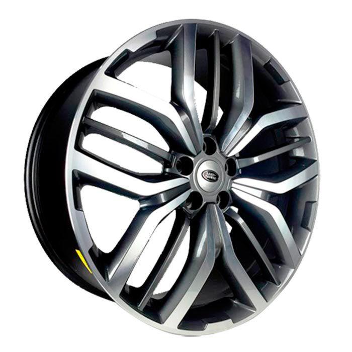 Jogo 4 rodas Raw MC/L08 Range Rover Sport aro 22 5x108 tala 9 Grafite brilhante e diamante ET45