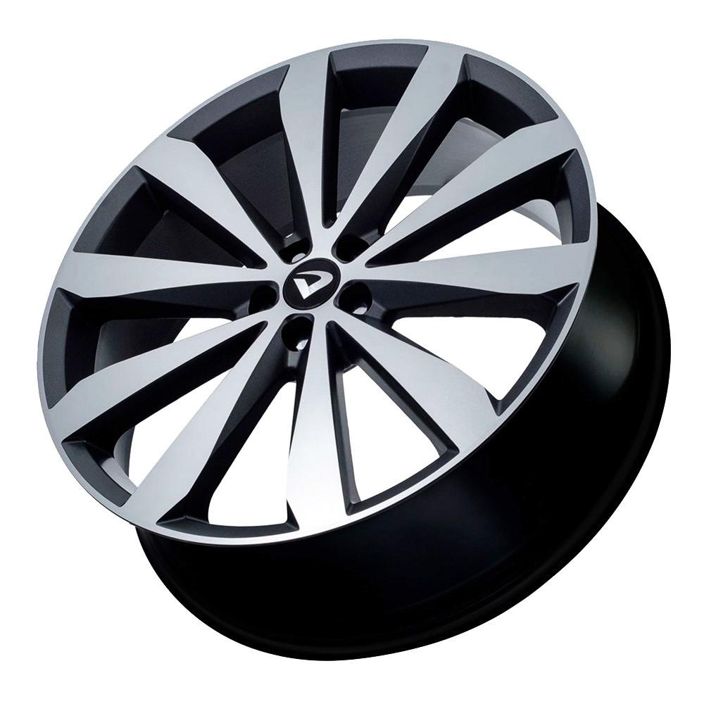 Jogo 4 rodas Volcano Spinning aro 20 furação 5x100 tala 7,5 grafite com diamantado fosco ET42