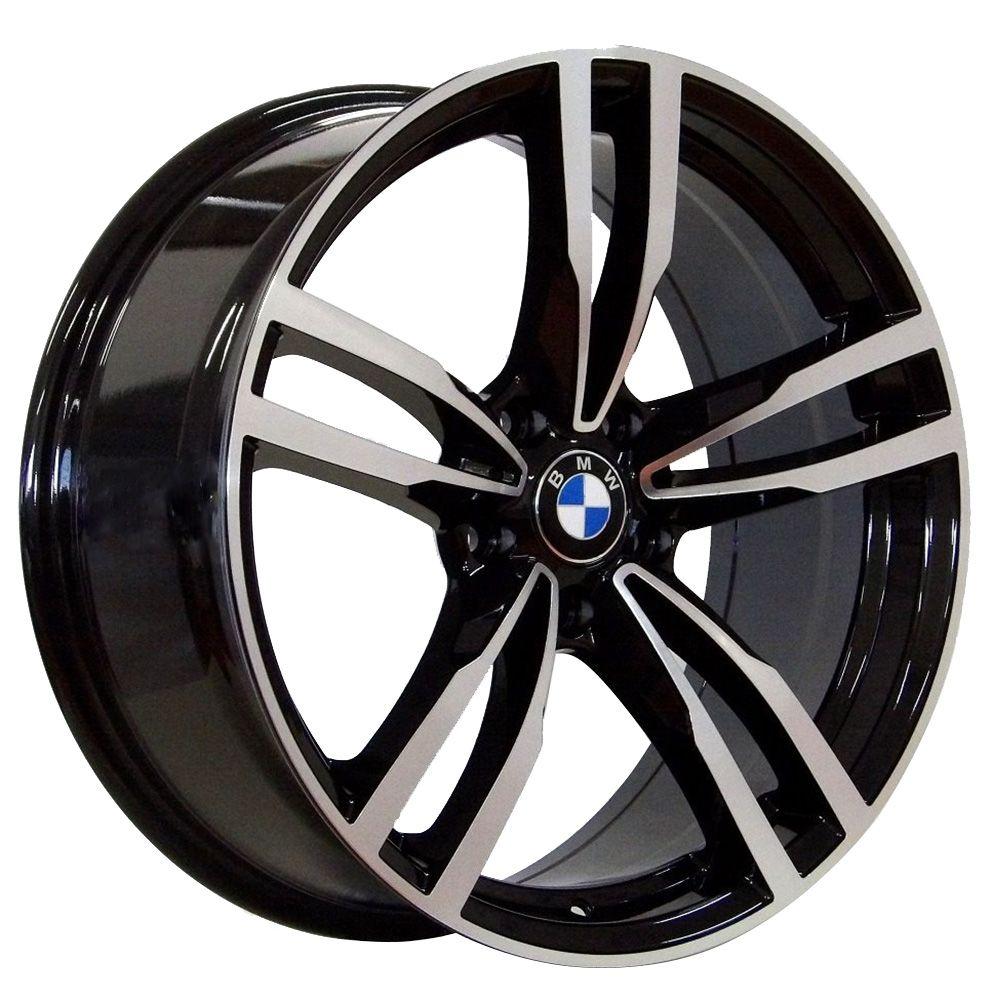 """Jogo com 4 rodas GT-7 Bmw M4 2016 aro 20"""" furacão 5X120 acabamento preto e diamante tala 8,5"""