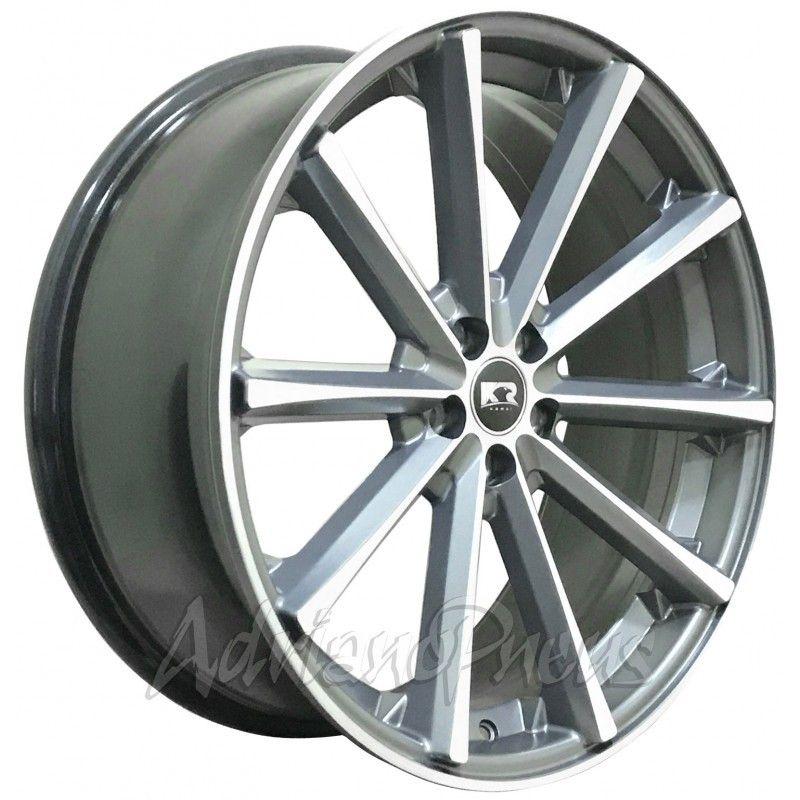 Jogo com 4 rodas KR K-63 Eclipse aro 20'' furacão 5x108 acabamento grafite e diamante tala 8