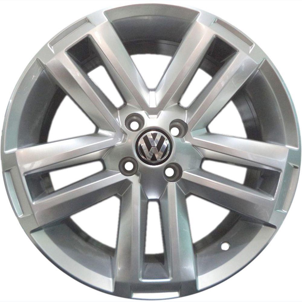 """Jogo com 4 rodas KR R-70 Volkswagen Amarok aro 20"""" furacão 4X100 acabamento prata tala 7,5"""