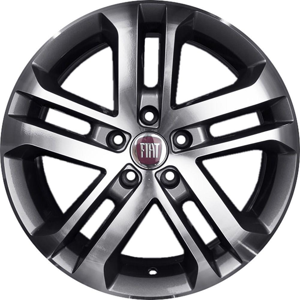 """Jogo com 4 rodas KR R-73 Fiat Toro aro 16"""" furacão 5X110 grafite fosco diamantado tala 6"""
