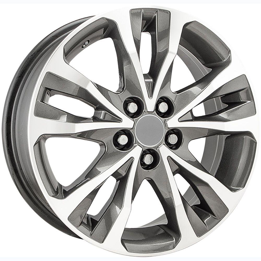 """Jogo com 4 rodas KR R-89 Corolla 2018 aro 16"""" furacão 5X100 acabamento grafite e diamante tala 6"""
