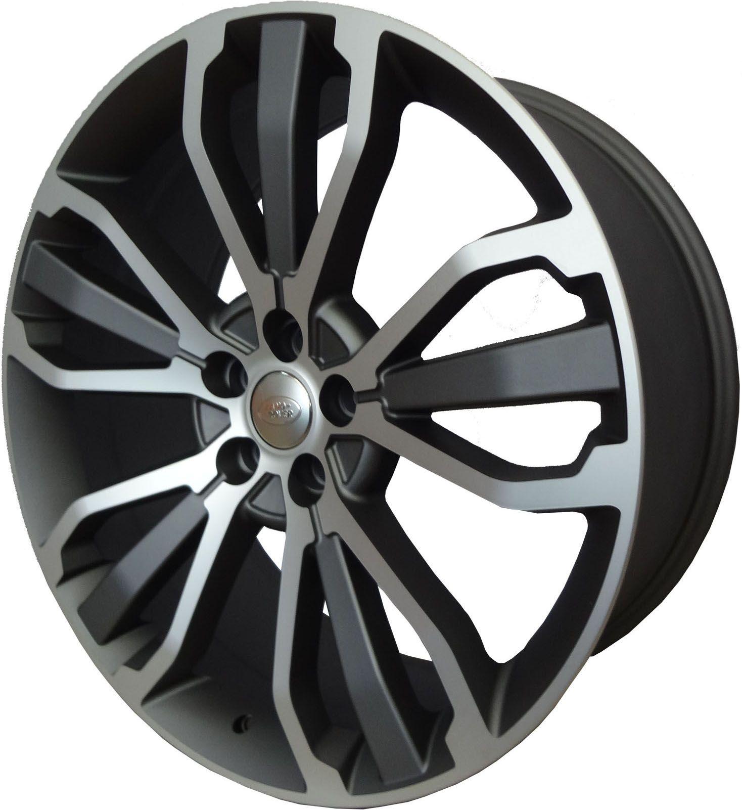 """Jogo com 4 rodas Presenza PRZ-1027 Range Rover Sport aro 22"""" furacão 5X120 acabamento grafite e diamante tala 9,5"""