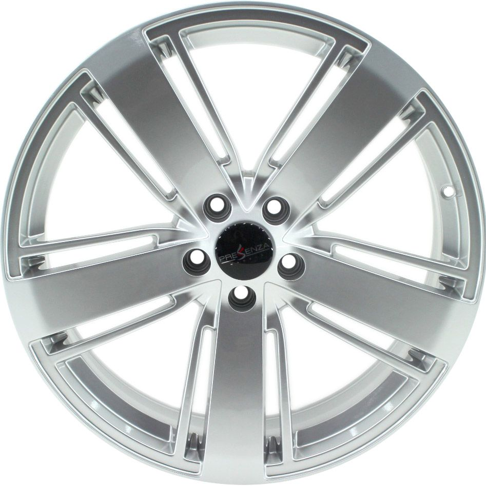"""Jogo com 4 rodas Presenza PRZ-205 VW Amarok aro 20"""" furacão 5X112 acabamento hiper prata tala 7,5"""