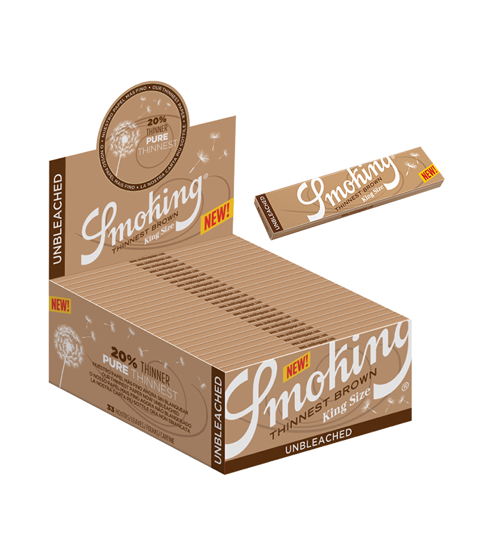 Caixa de Seda Smoking Thinnest Brown King Size - 50 Uni.