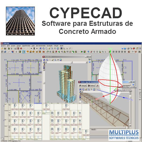 """Software CYPECAD LT50 Básico versão 2019 incluindo a modulação descrita em """"Itens Inclusos"""" integrado com o Software Metálicas 3D (MT32) V.2019 incluindo a modulação descrita em """"Itens Inclusos"""""""