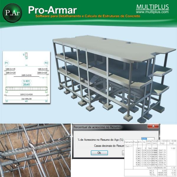 Software PRO-Armar versão 15 incluindo Portico Espacial