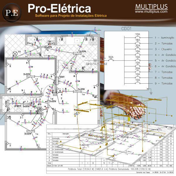 Software PRO-Elétrica versão 17 incluindo Detalhamento, Dimensionamento, Cabeamento Estruturado, SPDA, Automação Residencial, Loteamentos, Instalação Fotovoltaica e Exportação em IFC