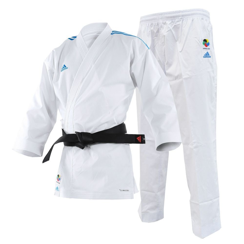 eb7fc7b0f Kimono Karate Adidas AdiLight Branco Listras Azul - Made4fighters ...