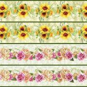 Tecido Faixas Floral III - Girassol