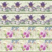 Tecido Faixas Floral III - Lavanda