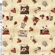 Tecido - I Love Quilting Creme  (50x150cm)