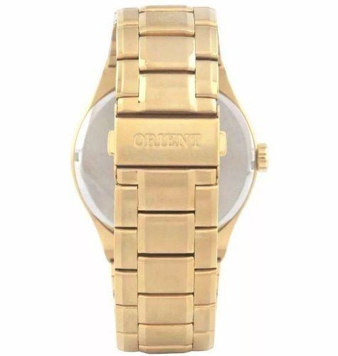 0615d00e2f4 ... Relogio Orient Masculino Dourado Pulseira Aco Mostrador Preto  Resistencia 50M Caixa 47mm Mgss1136 - ALLTENTICA ...