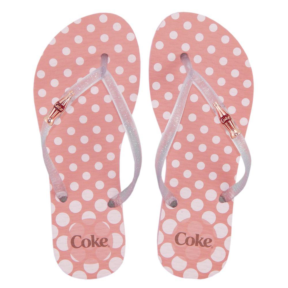 866fb1ddb Chinelo Coca-Cola Feminino Polka Rosa Cristal CC2582 - ALLTENTICA ...
