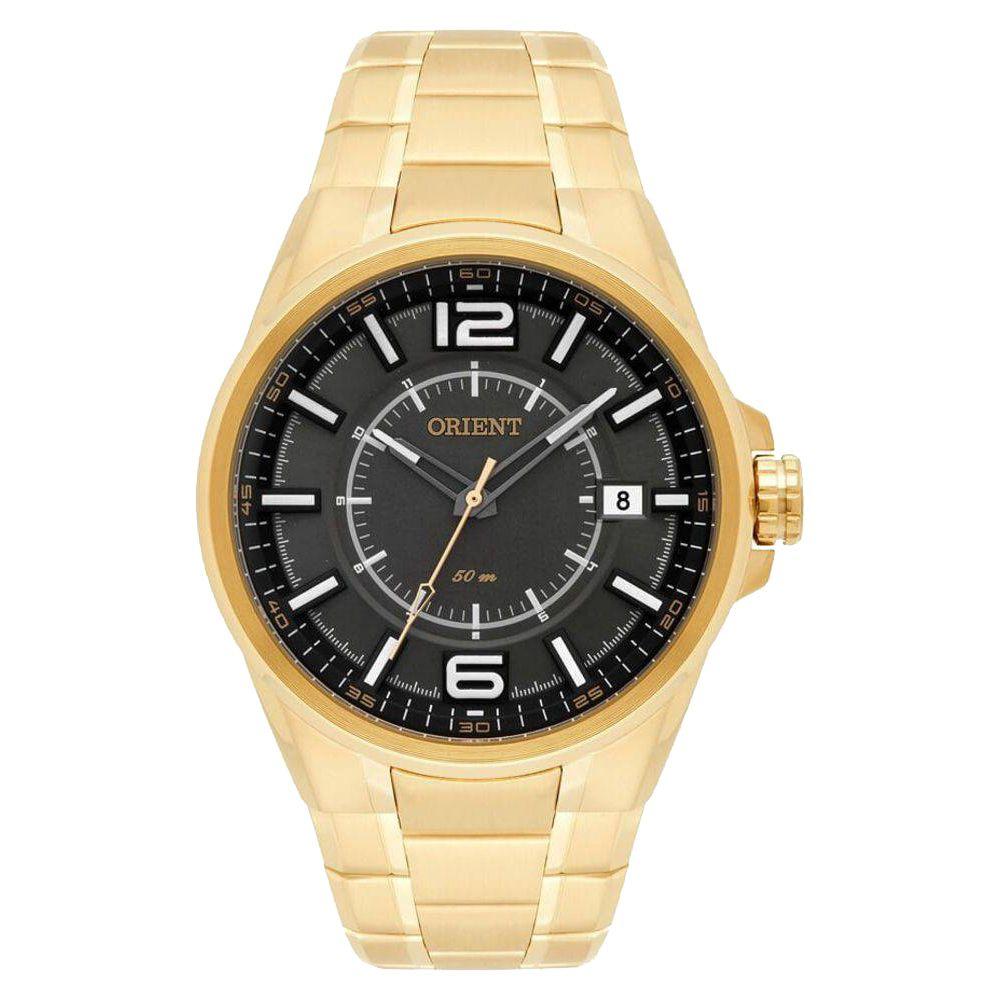 88fa698c3c3 Relógio Orient Masculino Dourado Pulseira Aço Mostrador Cinza Resistência  50M Caixa 47mm MGSS1141 - ALLTENTICA ...