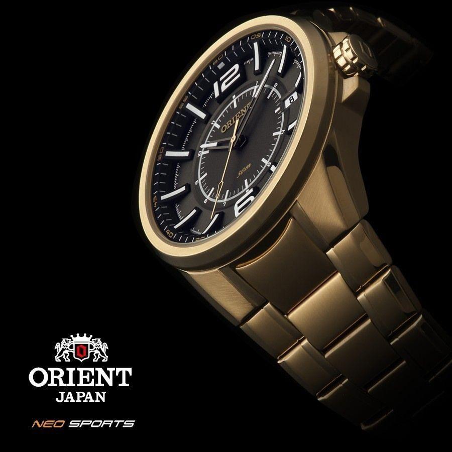 32723df0b60 ... Relógio Orient Masculino Dourado Pulseira Aço Mostrador Cinza Resistência  50M Caixa 47mm MGSS1141 - ALLTENTICA ...