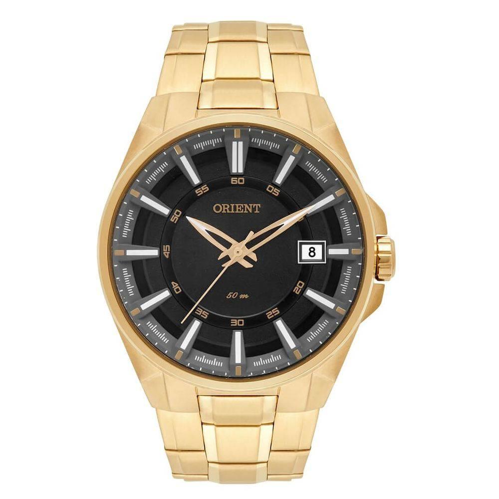 a2d631af48e Relógio Orient Masculino Dourado Pulseira Aço Mostrador Preto Resistência  50M Caixa 47mm MGSS1143 - ALLTENTICA ...