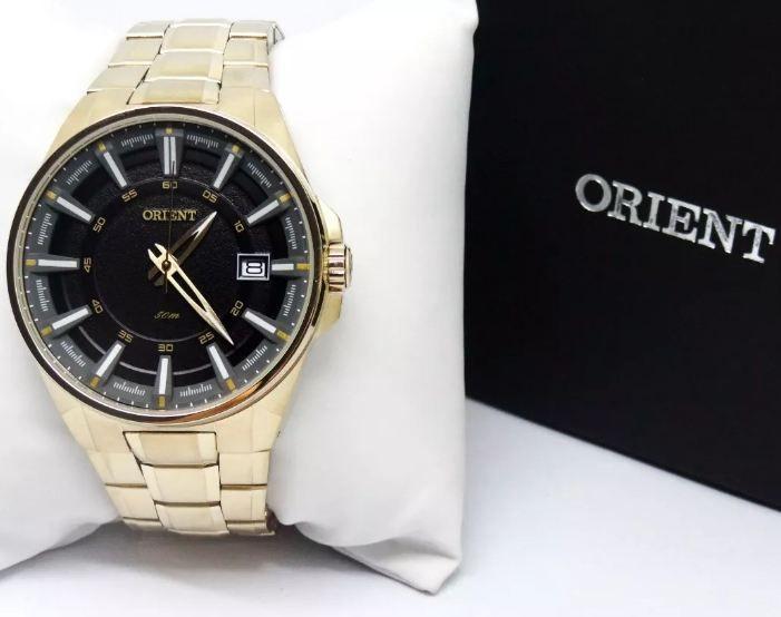 0fdc5fe466b ... Relógio Orient Masculino Dourado Pulseira Aço Mostrador Preto  Resistência 50M Caixa 47mm MGSS1143 - ALLTENTICA ...