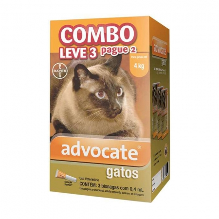 ADVOCATE GATO ATE 04 KG (0,4 ML) COMBO LEVE 3 PAGUE 2