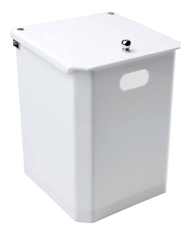 Cesto quadrado com tampa fixa – Branco