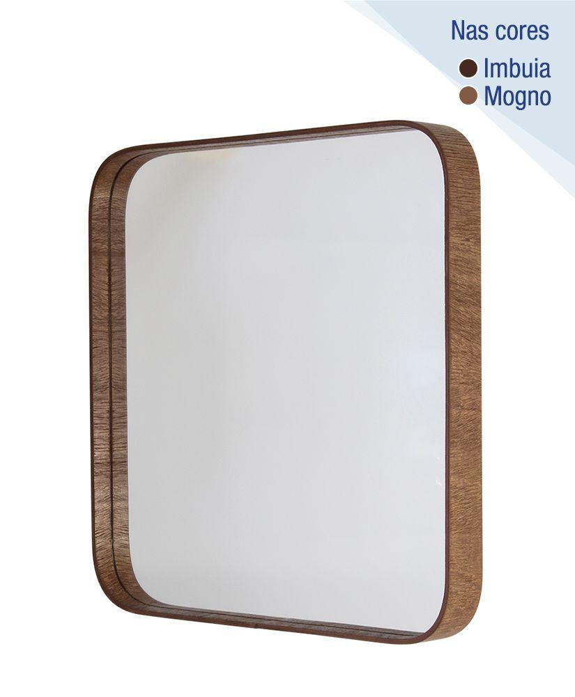 Espelho Quadrado com Moldura de Madeira - 50cm