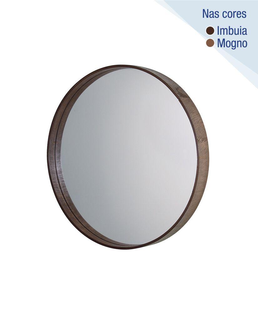 Espelho redondo com moldura de madeira – 35cm